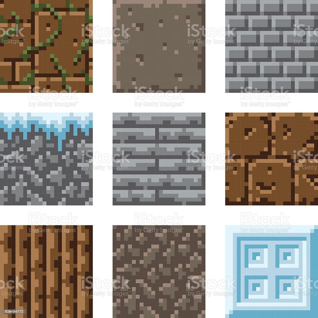 Pixel Art Seamless Gaming Terrain Tiles Stock Vector Art