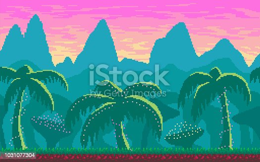 Pixel art seamless landscape with tropics area for game design.
