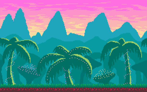 Pixel art seamless landscape with tropics area. vector art illustration