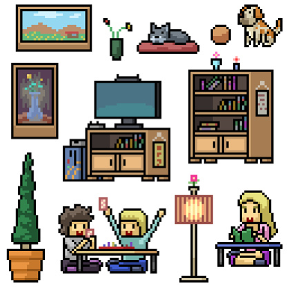 pixel art set isolated home living room