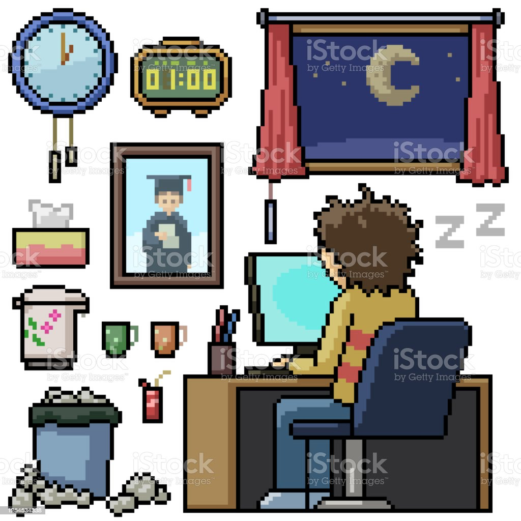 Pixel Art Set Isolated Man Work Overtime Stock Illustration Download Image Now Istock