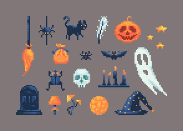 bildbanksillustrationer, clip art samt tecknat material och ikoner med pixelart uppsättning olika artiklar för design på halloween. - ljus på grav