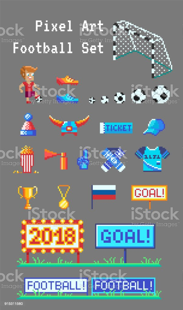 Pixel Art Set Of Football Related Vector Icons Stock