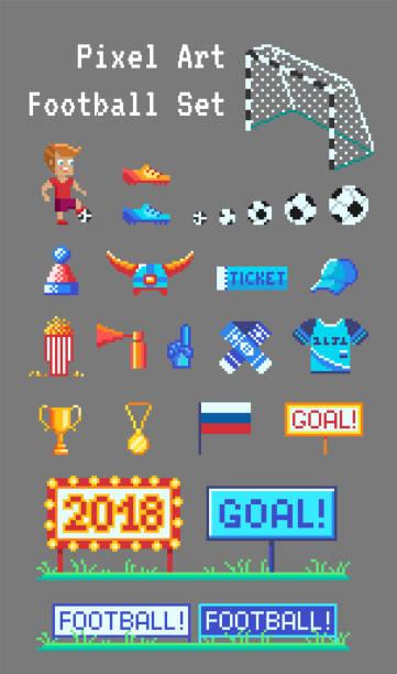 pixel-kunst-reihe des fußballs im zusammenhang mit vektor-icons. - fußballkunst stock-grafiken, -clipart, -cartoons und -symbole