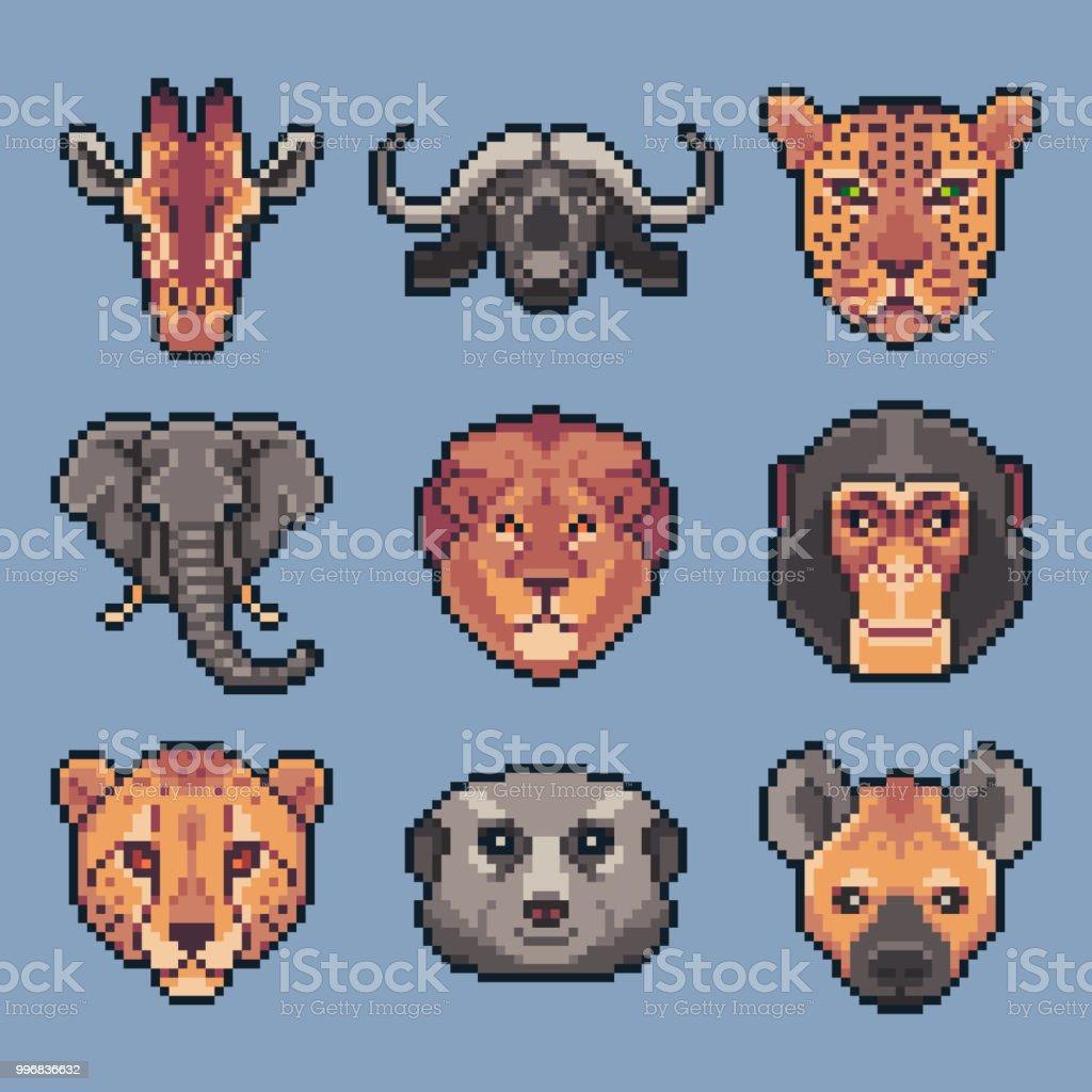 Pixel Art Set Of Vector African Wild Animals Stock