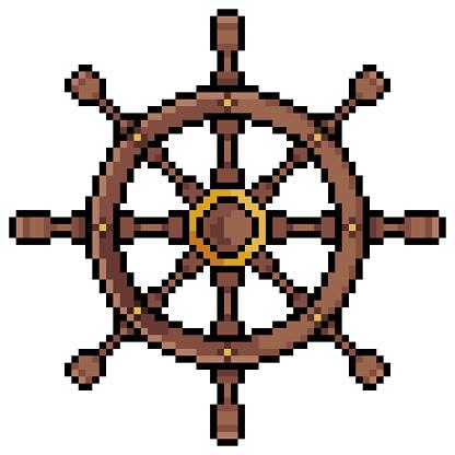 Pixel art ship timon, helm, rudder