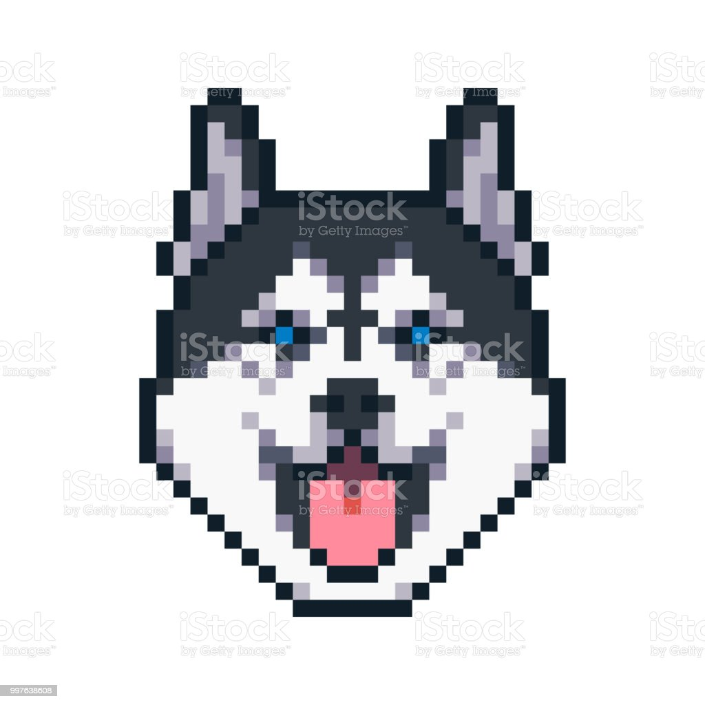 Pixel Art Siberian Husky Dog Vector Icon Stock Illustration