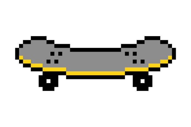 stockillustraties, clipart, cartoons en iconen met pixel art skateboard icoon geïsoleerd op witte achtergrond.; 8 bit old school vintage retro jaren '80-90 video game graphics. - board game outside