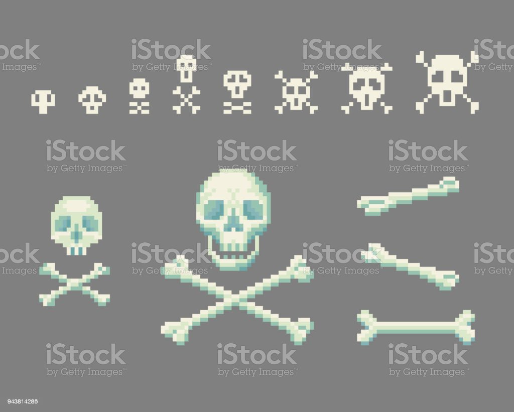 Crâne Du Pixel Art Avec Tête De Mort Vecteurs Libres De