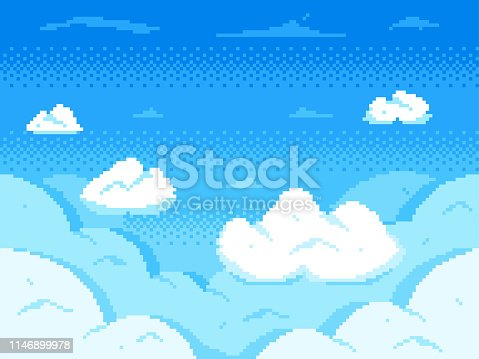 Pixel art sky. Clouds 8-bit skyline, retro video game cloud landscape and cloudy. Aerial pixel skyline, games sky animation scene or pixilated clouds vector background