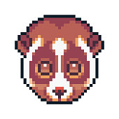 Pixel Art Red Panda Isolated On White Background Stock