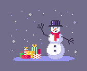 istock Pixel art snowman and gift boxes. 1289940568