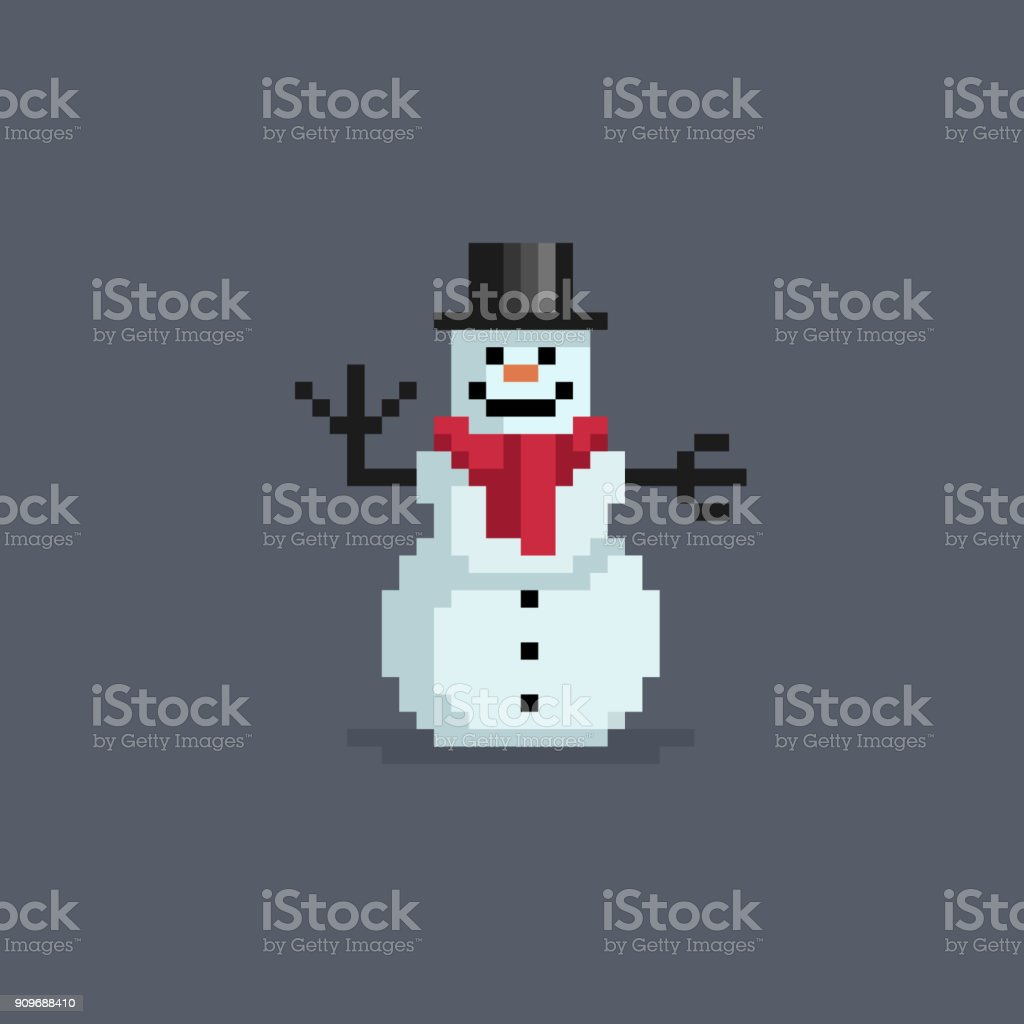 Pixel Art Snowman In Hat Stock Illustration Download Image Now Istock