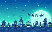 istock Pixel art snowy city at Christmas eve. 1279840165