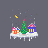 istock Pixel art snowy houses and Christmas fir tree in the center. 1181521031