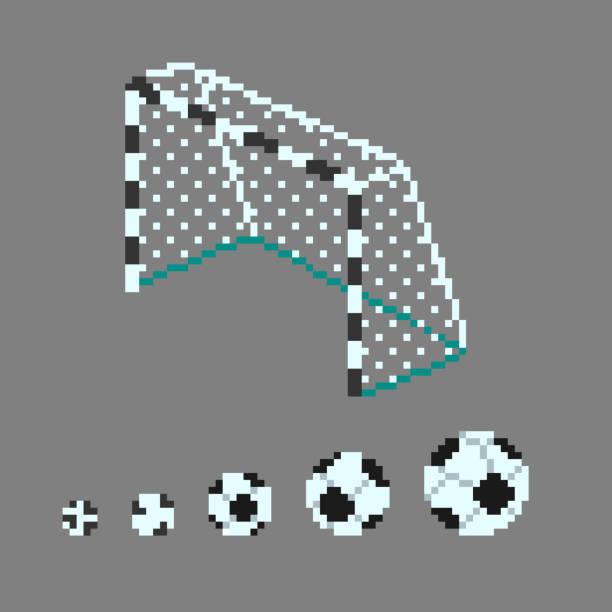 pixel art fußball ball symbole. - fußballkunst stock-grafiken, -clipart, -cartoons und -symbole