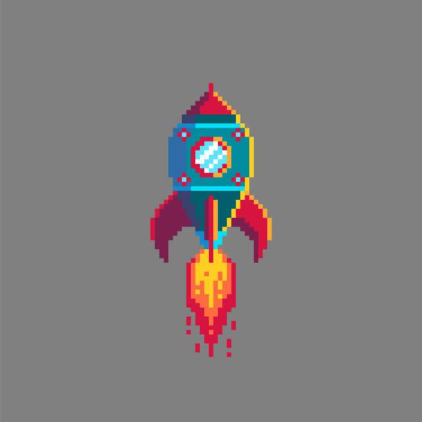 pixel art raumschiff raketenstart. - gepixelt stock-grafiken, -clipart, -cartoons und -symbole