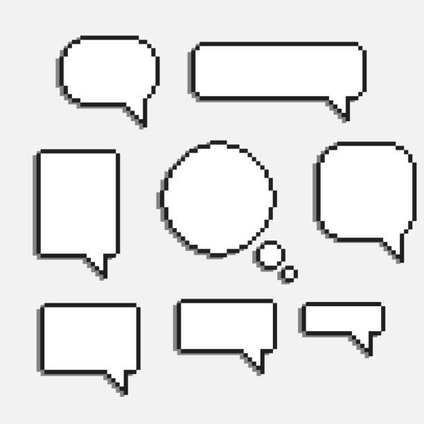 pixel art speech cloud vector pixel art speech cloud vector dialogue text box window pixelated stock illustrations