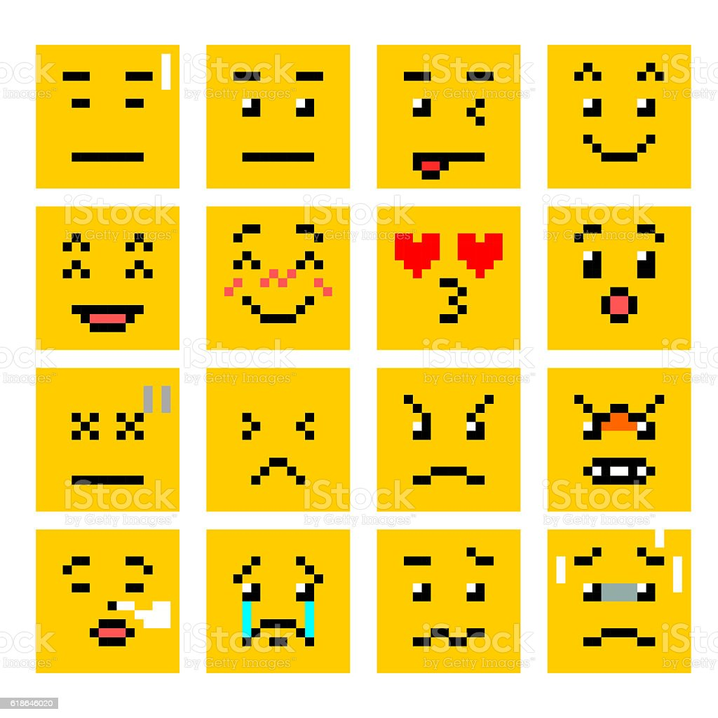 Pixel Art Square Smiley Emoticon Set Vecteurs Libres De