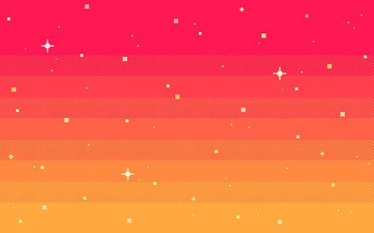 Pixel art star sky at dawn time.