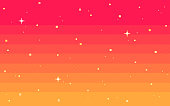 istock Pixel art star sky at dawn time. 1219023505
