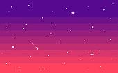 Pixel art star sky at evening. Seamless vector background.