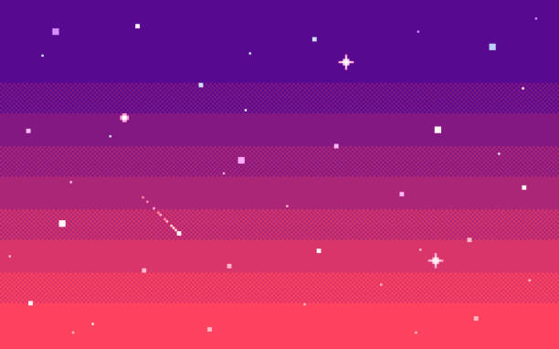 Pixel art star sky at evening. Vector background. Pixel art star sky at evening. Seamless vector background. video game stock illustrations