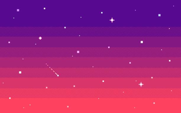 stockillustraties, clipart, cartoons en iconen met pixel art sterrenhemel 's avonds. vector achtergrond. - vrijetijdsspel