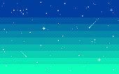 istock Pixel art star sky at evening. Vector illustration. 1182467404