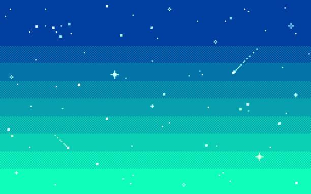 Pixel art star sky at evening. Vector illustration. Pixel art star sky at evening. Starry night sky seamless backdrop.Vector illustration. leisure games stock illustrations