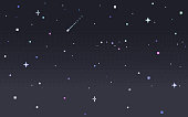 istock Pixel art star sky at night. 1208374725