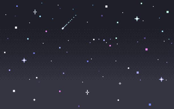 Pixel art star sky at night. Pixel art star sky at night. Starry sky seamless backdrop. Vector illustration. star space stock illustrations