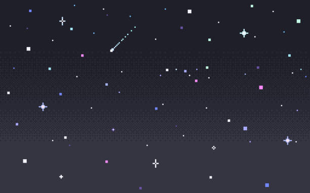pixel art star sky at night. - space background stock illustrations