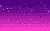 istock Pixel art star sky at sunset time. 1208374691
