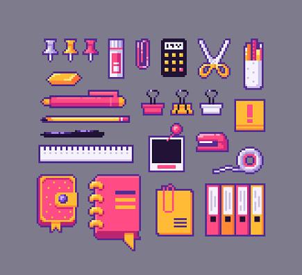 Pixel art stationery icons set.