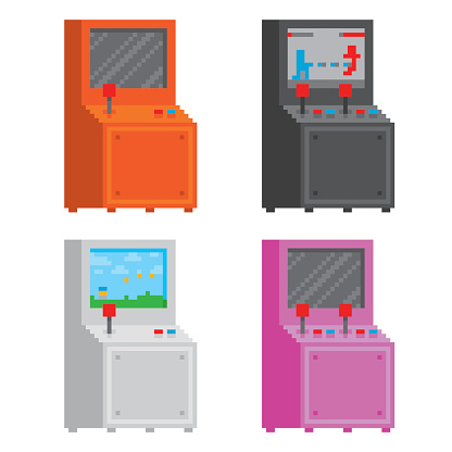 Pixel art style arcade game cabinet isolated vector illustration set