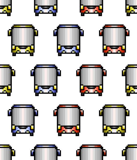pixel-art-stil bus nahtloses muster - pastellhosen stock-grafiken, -clipart, -cartoons und -symbole