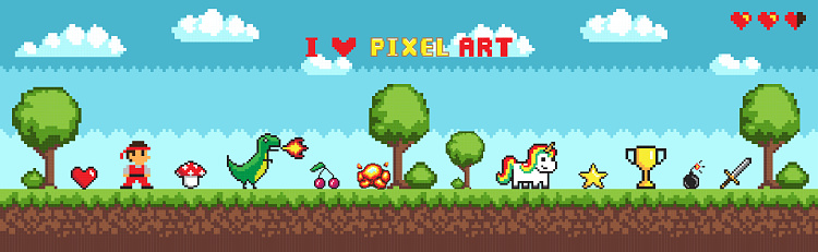 Pixel Art Style, Character in Game Arcade Play