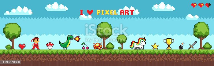 Pixel art style, character in game arcade play vector. Man with sharp sword fighting against dragon, retro gaming mode, unicorn and icons trophy star