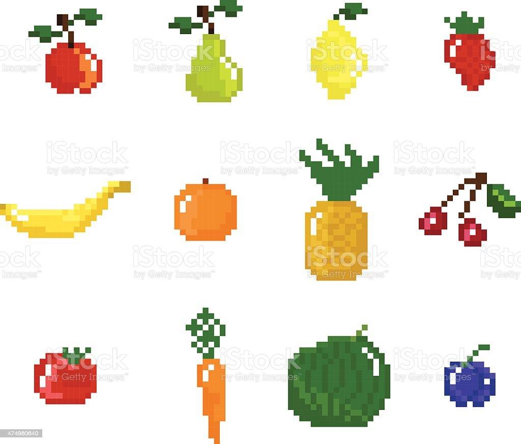 Pixel Art Style Fruits Légumes Et Collection De Fruits