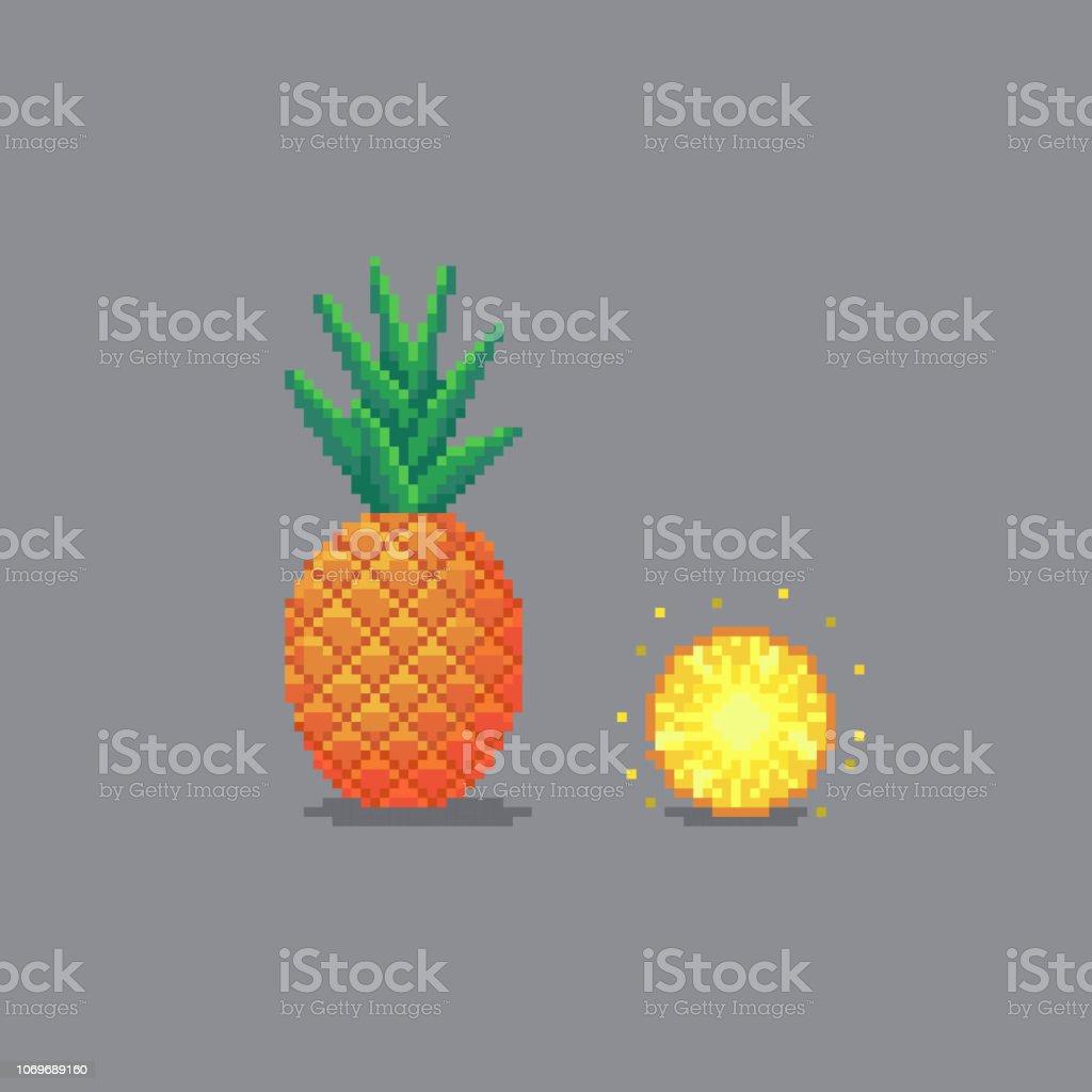 Pixel Art Style Pineapple Illustration Stock Illustration