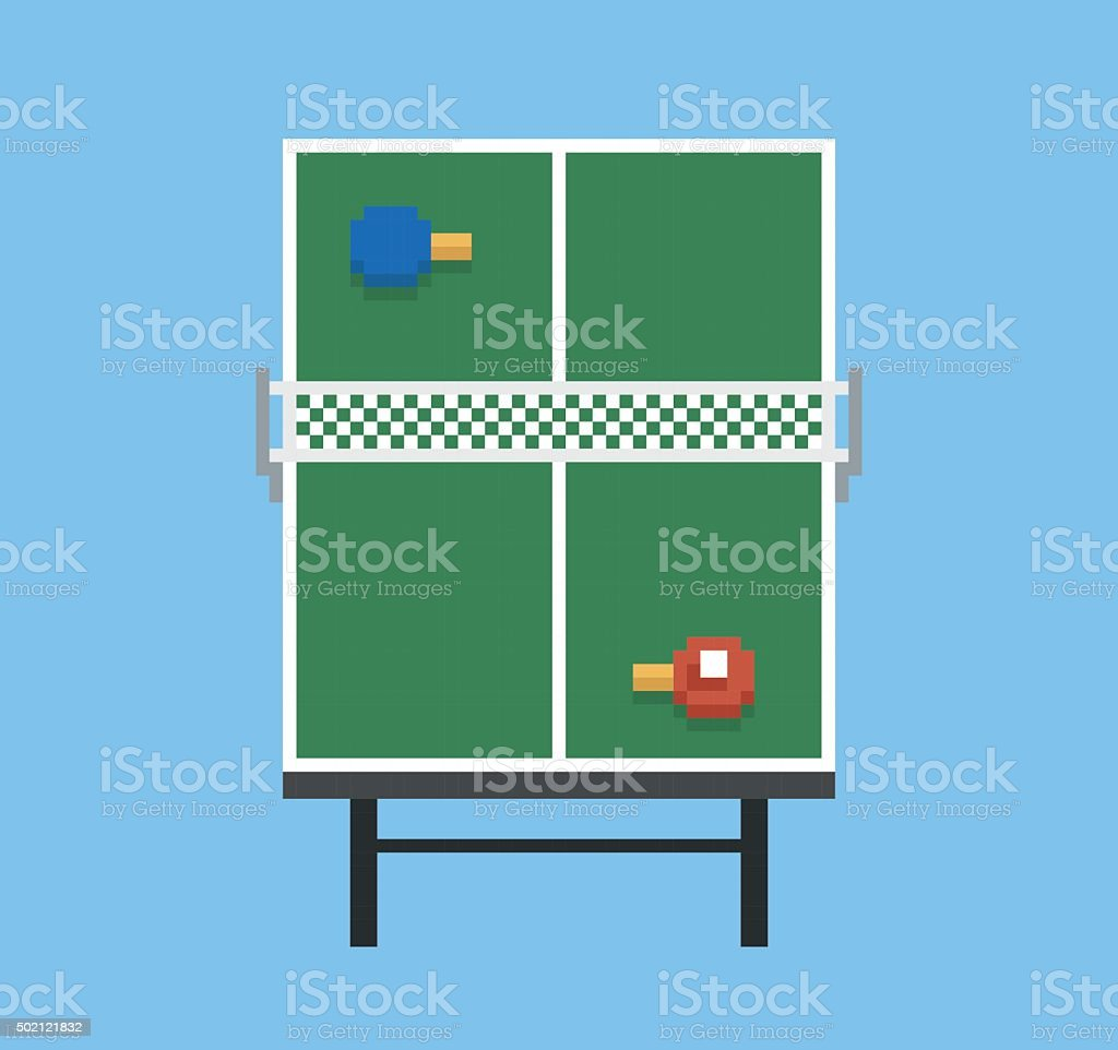 pixel art style ping pong and rackets sport table playground vector art illustration