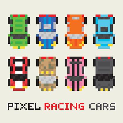 Pixel Art Style Vecteur Série Des Voitures De Course