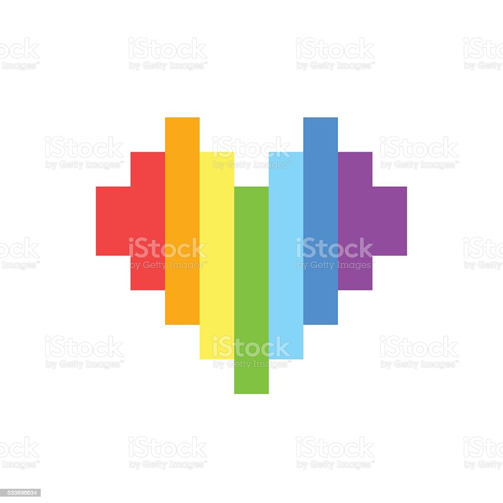 Pixel Art Style Rainbow Homosexual Heart Vector Sign Stock