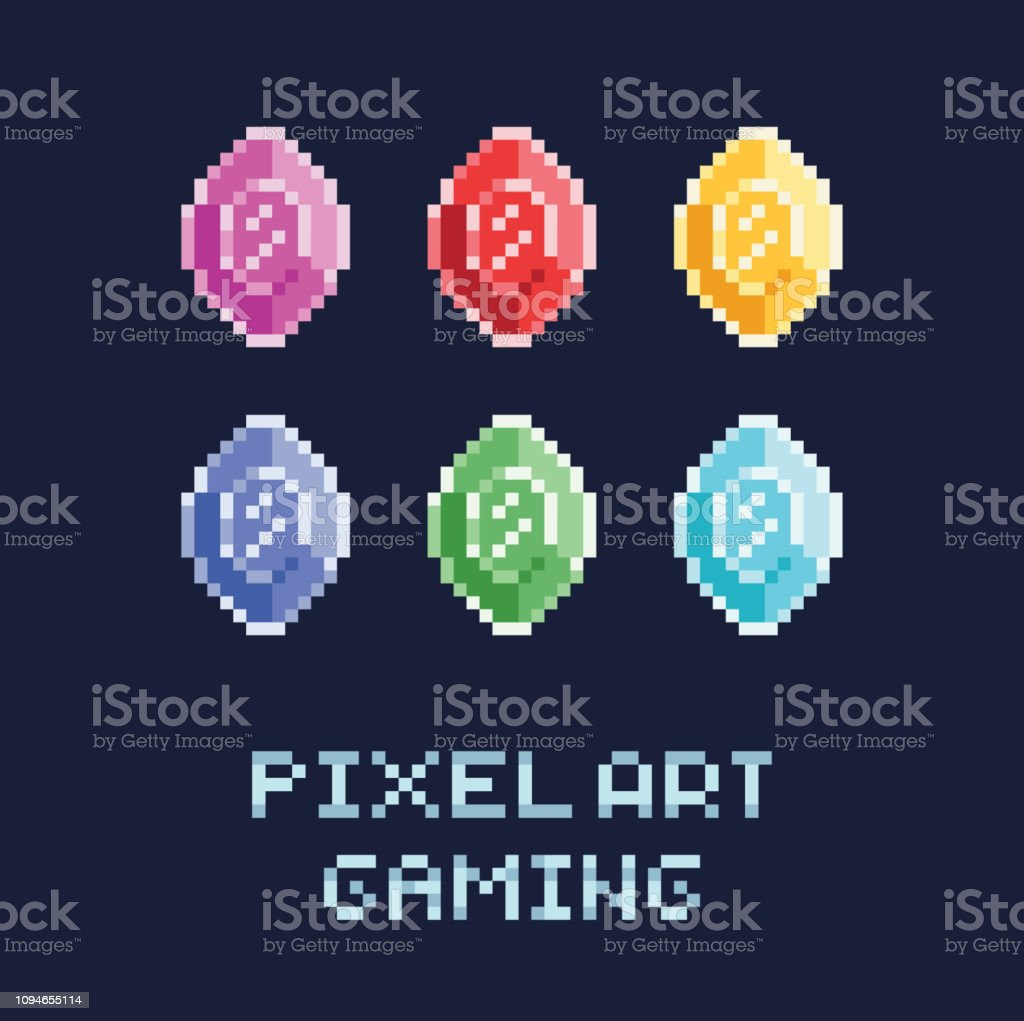 Illustration Vectorielle De Pixel Art Style Set Diamants De