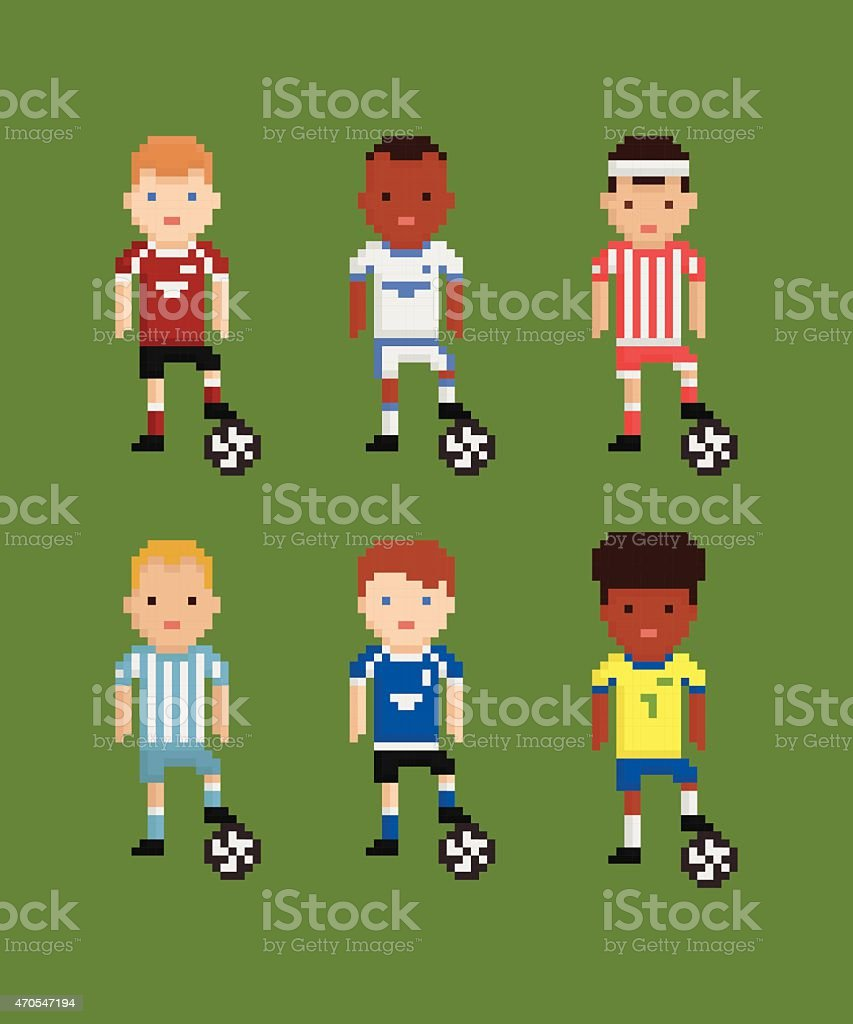 Pixel Art Style Vector Set Football Soccer Players In Stock
