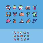 Pixel art summer vacation vector icons set.