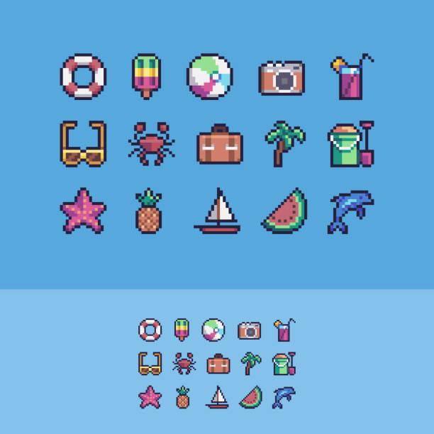 pixel art summer vacation vector icons set. - living organism stock illustrations