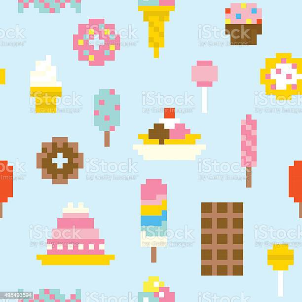 Seamless Pattern Pixel Art Cupcakes Telecharger Vectoriel