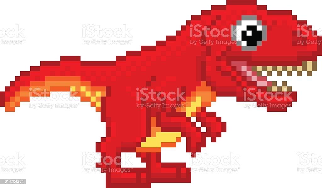 Pixel Art T Rex Cartoon Dinosaur vector art illustration